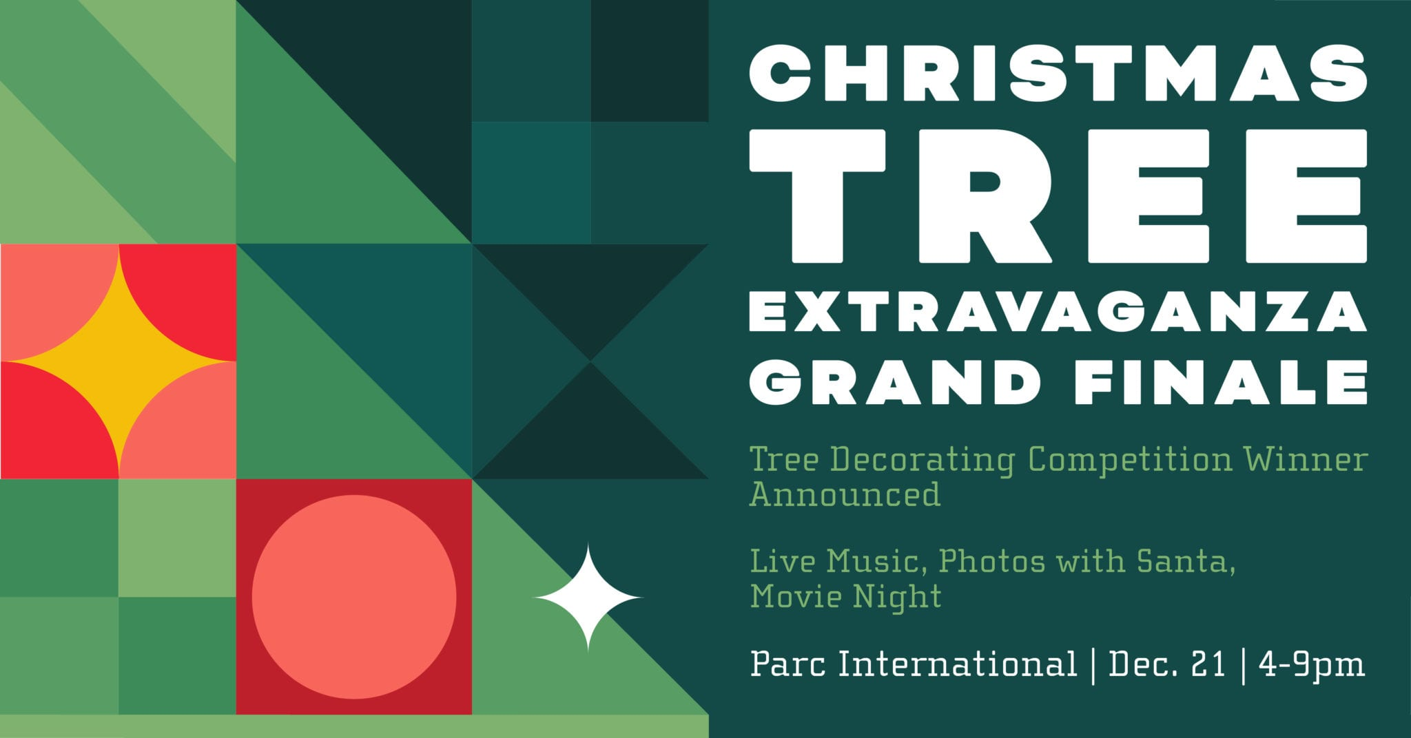 Christmas Tree Extravaganza finale event graphic